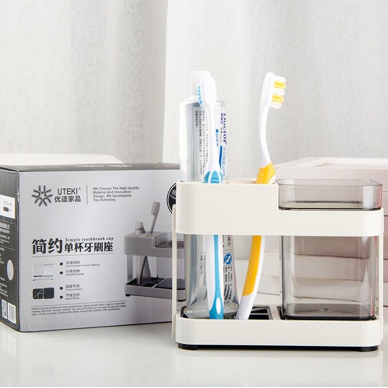Caja del cepillo de dientes Cuarto de Taza de Almacenamiento Caja del cepillo de Dientes Asiento Inodoro Dos Aparatos Dentales Removibles Creativo Suministros de Baño