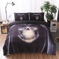 Mecerock 3d Skull Bedding Sets Black Skull With Hat Duvet Cover Queen King Size 3pcs Black