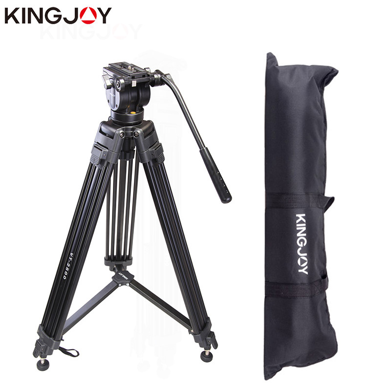 KINGJOY Official VT-2500 Professional Light Weight Camera Tripod Stand Pemegang Stabil Fluid Damping Tripod Kit Untuk Semua Model