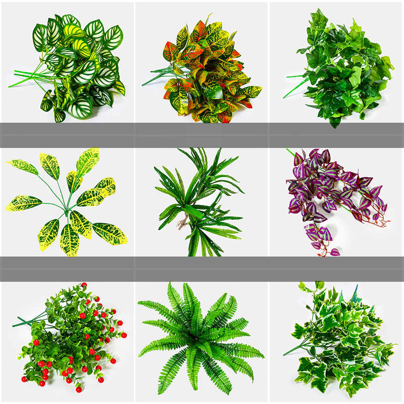 Luyue Artificial  turf grass Plant Lawn Outdoor decor plant wall accessories DIY green vines branch wedding decor Fake tree leaf