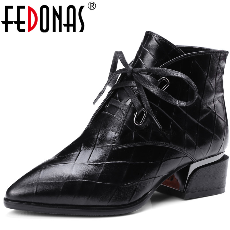 FEDONAS Top Quality Fashion Brand Genuine Leather Women Ankle Boots Thick Heel Autumn Winter Martin Shoes Woman Motorcycles Boot fanyuan pu leather shoes women ankle boots autumn thick high heel martin boots zip winter handmade leather shoes boot blac