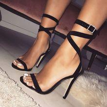 אופנה פנאי ברור עקבים נשים סנדלי קרסול רצועה גבוהה דק עקבים קיץ סנדלי מזדמן אבזם רצועת נעלי 2018 חדש