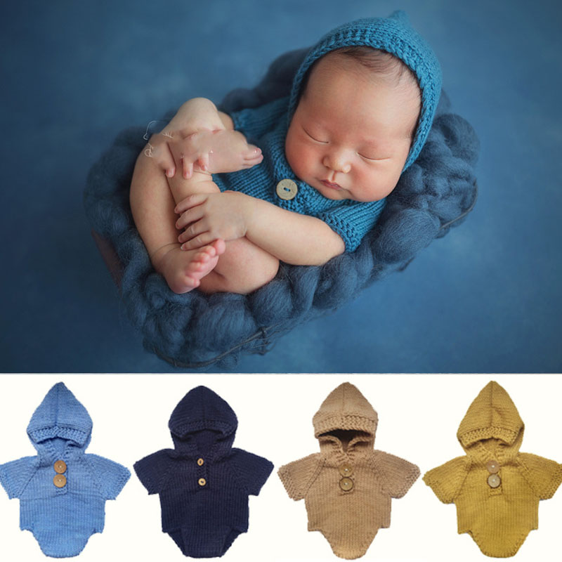Newborn Baby Cute Crochet Romper Knit Costume Prop Photo Photography Baby Hat Photo Props Newborn baby