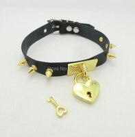Punk goth rock handmade picchi di lusso girocollo in oro sicuro del choker del cuore locket della collana del collare