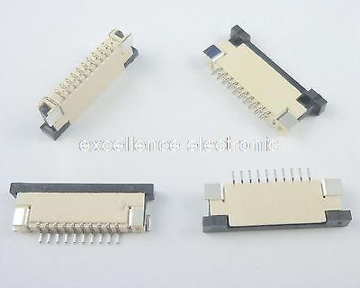50 Pcs FPC FFC 1mm Pitch 10 Pin Drawer Type Ribbon Flat Connector Bottom Contact for LCD screen interface of MP3/DVD/Phone