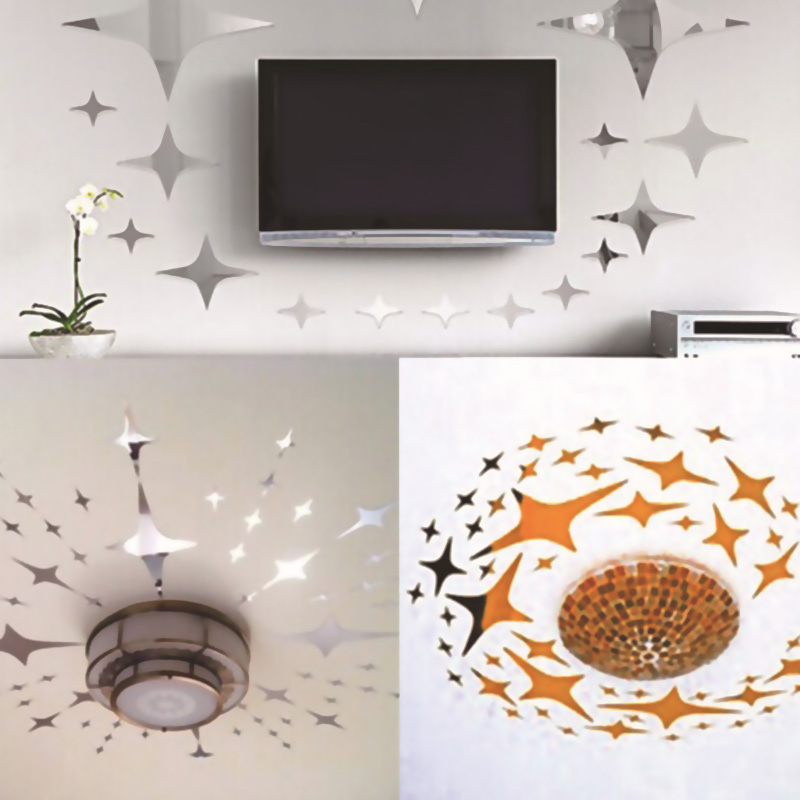 50pcs Star Shape 3D Acrylic Wall Stickers Living Room Bed Room Ceiling Mirror Wall Sticker Home Decoration TB Sale