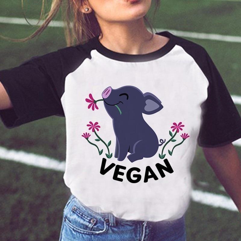 Vegetarian Pig women tshirt Vegan T-shirt Eat Fruit Not Friends Funny Printed animal T Shirt Tee Shirt Female Femme Tops Tee