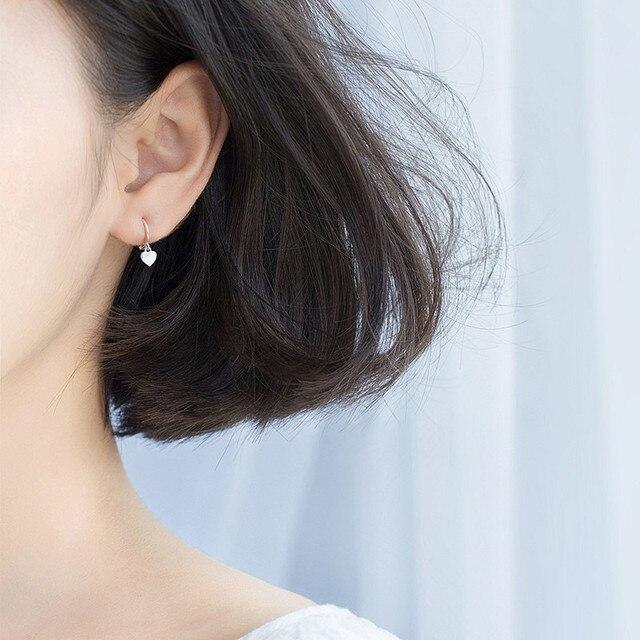 925 Sterling Silver Heart Exquisite Hoop Earrings  3