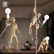 Vintage Gold Resin Hemp Rope Monkey Pendant Lights  Industrial Retro E27 Table Lamp Wall Light For Dining Room Cafe Restaurant