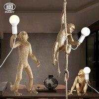 Винтаж золотой смолы пеньковая веревка обезьяна Открытый Подвесные Светильники промышленного ретро E27 Настольный светильник Настенный св