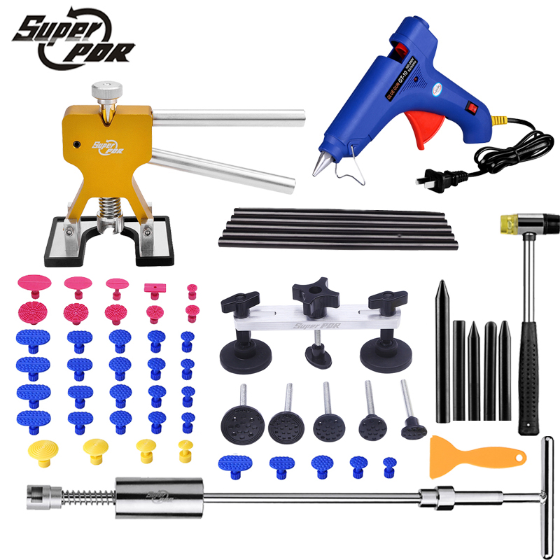 Super PDR Car dent repair tools Paintless Dent Removal tool kit slide hammer Dent puller glue gun 55pcs hand tools Ferramentas super pdr slide hammer glue gun glue sticks dent repair tools dent lifter car dent removal tool set 29pcs