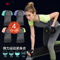 Women Running T shirt Contrast Color FastDry Fitness Yoga Tights Sweat absorbing Sports T shirt Short Sleeve Hengshao