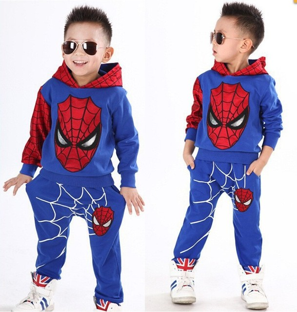 New Baby Boys Spring Autumn Spiderman Sports suit 2 pieces set Tracksuits Kids Clothing sets 100-150cm Casual clothes Coat+Pant 1
