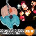 Tan Lindo de la Historieta Animales elefante Cadena de Luz Bebé Niño Habitación Led Festival Decoración de la Boda Led Cadena de Luz de La Pared Interior