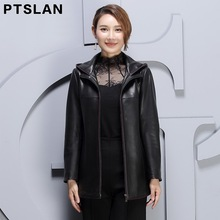Ptslan 2017 Women Plus Size Real Leather Jackets Autumn  Genuine Leather Overcoat Hooded Leather Coats