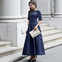 Xxxl! marca de alta calidad más el tamaño de largo dress 2017 primavera vendimia de las mujeres jacquard de impresión media manga elegante del partido maxi dress azul