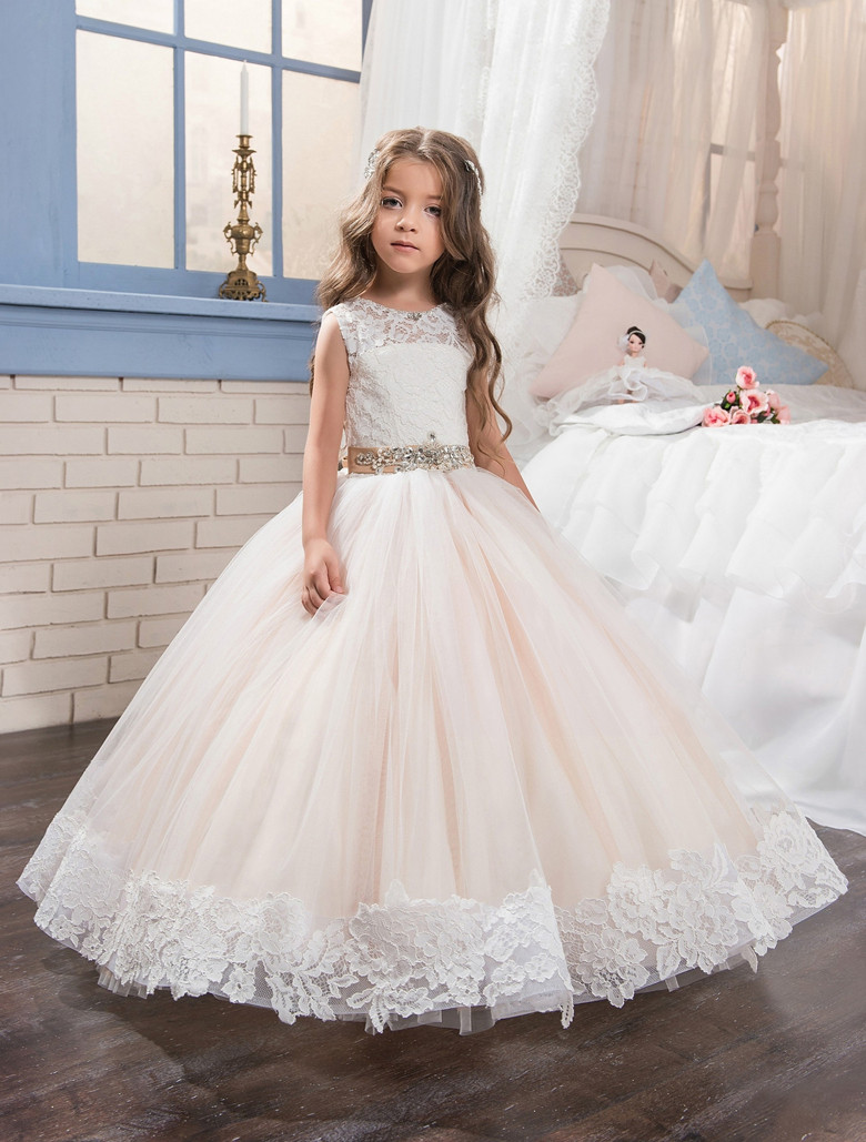 2017 First Communion Dresses for Little Girls Ball Gown Lace Tulle O-neck Sleeveless Flower Girl Dresses with Crystal Belt hot sale custom cheap pageant dress for little girls lace beaded corset glitz tulle flower girl dresses first communion gown