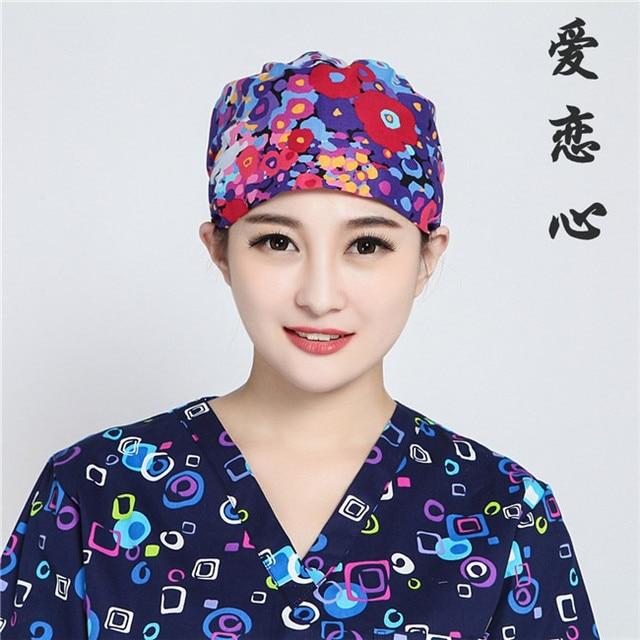 Love leopard print surgical caps print cotton surgical caps for Doctor nurse dentist new fashion caps for beautician