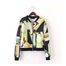 Spring Autumn Women Jacket Coat Space Cotton Patterns Print Thin Short Baseball Jacket Casual Outerwear Coats Basic Jackets