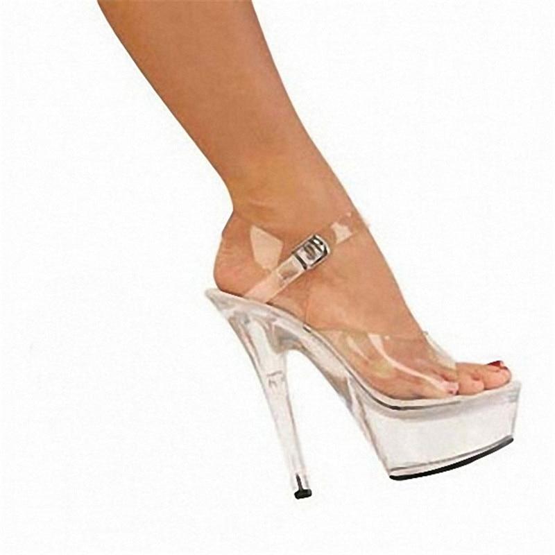 Cm Chaussures Évanescentes Femmes Transparent Cristal 15 Super D'appel Avec De Hauts Teintes Talons Parti wOI5qwXa