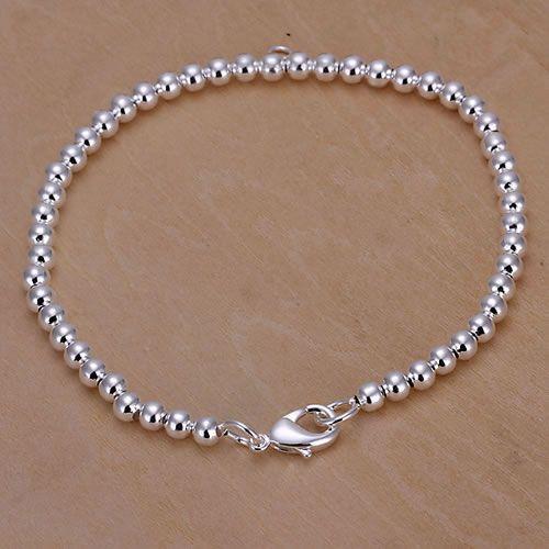 մեծածախ գին 50% զեղչ արծաթե ձեռնաշղթա զարդեր արծաթյա նորաձևության զարդեր 4 մմ Budda գնդիկ Bean ձեռնաշղթա / DFEWRFT KN-H198