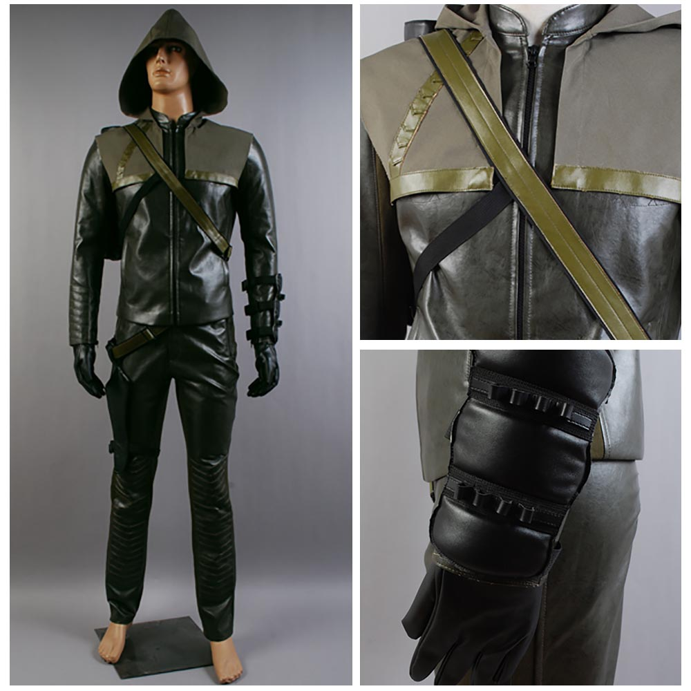 Oliver Queen Arrow Costume Green Arrow Cosplay Costume Superhero Leather Suit Halloween Costumes For Adult Men