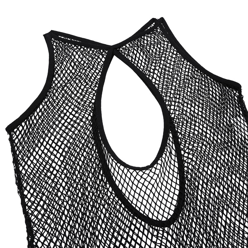 Black Women Lingerie One Piece Hollow Out Fishnet See Through Teddy