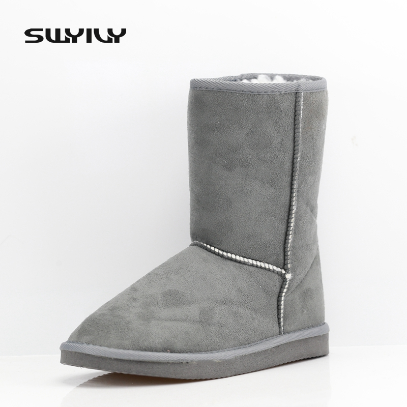 2017 Winter Thicken Short Plush Women's Snow Boots Fashion Sewing Solid Color Woman Boot Hot Sale Cheap Price Female Warm Shoes 2017 cow suede genuine leather female boots all season winter short plush to keep warm ankle boot solid snow boot bota feminina