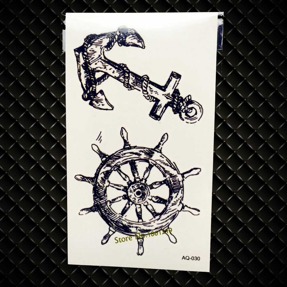 Hot Fashion Waterproof Compass Rudder Anchor Tattoo Sticker For Men Women Fake Tatoo Body Art Temporary Tattoo Stickers GAQ-030