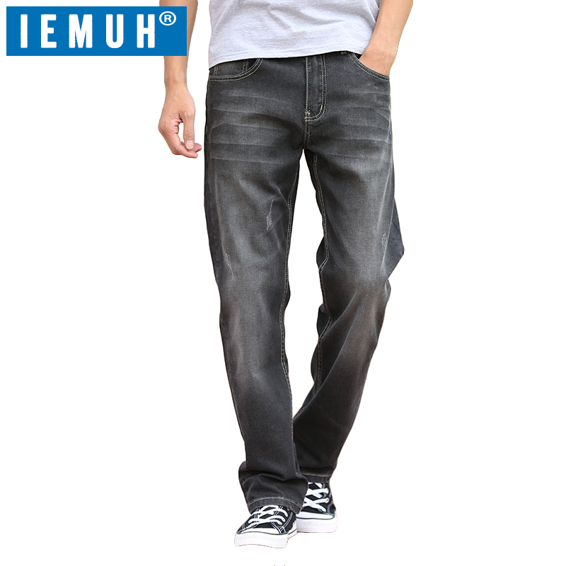 IEMUH Brand New Cotton Spring Men Jeans Slight Classic Denim Pants Male Washed Gray Designer Causal Jeans Man Plus Size 28-48 new afs jeep brand autumn and winter man jeans men pants straight cotton male denim brand jeans more pocket overalls