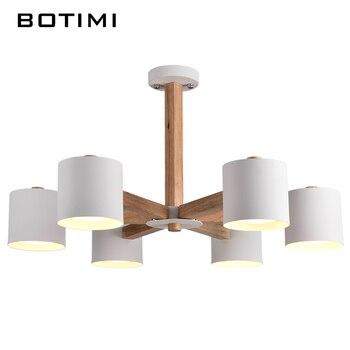 BOTIMI Nordic Люстра Железа Абажур Для Гостиной Suspendsion Светильники Lamparas Colgantes Деревянный Блеск