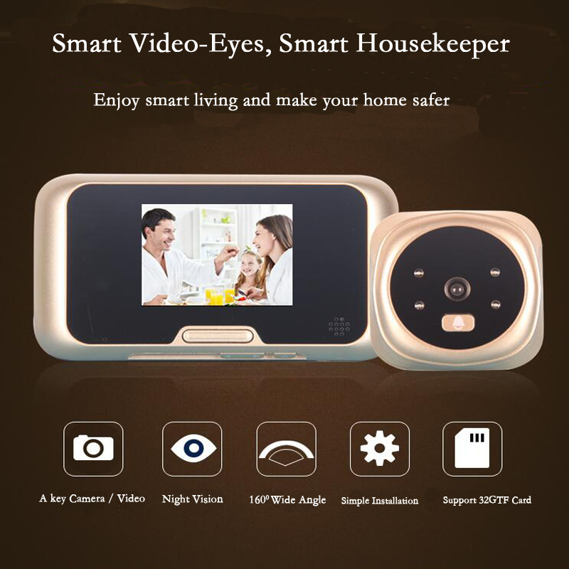 3 LCD Video Eyes Color Screen Doorbell Viewer Digital Door Peephole Viewer With Infrared Night Vision Camera Record Function original danmini 3 0 tft lcd color screen door peephole viewer ir led night vision light doorbell 145 degrees view angle system