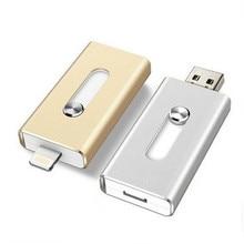 For iPhone 6, 6 Plus 5 5S ipad Metal Pen drive HD memory stick Dual purpose mobile Otg Micro USB FLASH Drive 32GB 64GB PENDRIVE цена и фото