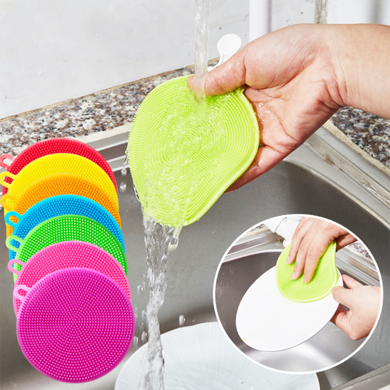 GT Mini Silicone Dish Bowl Cleaning Brush Scouring Pad Multifunctional Pot  Pan Cleaner Brushes Kitchen Vegetable Cleaners|Cleaning Brushes| -  AliExpress