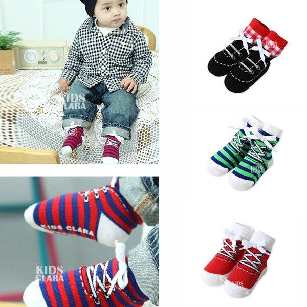 웃 유0-4y bebé niños algodón Calcetines Cordones para zapatos anti ...