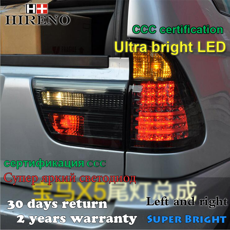 Hireno Tail Lamp for BMW X5 1999 2000 2001 2002 2003 2004 2005 2006 LED Taillight Rear Lamp Parking Brake Turn Signal Lights car rear trunk security shield cargo cover for bmw x5 e53 1998 1999 2000 2001 02 03 2004 2005 2006 high qualit auto accessories
