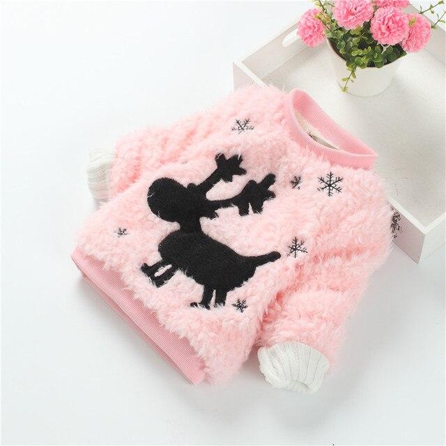 Девочки бархат утолщение осень зима толстовки ребенок-одежда мультфильм палевый капюшоном дети прекрасные топы 4 цвета одежду детей