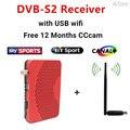 Decodificador de televisión Digital por satélite Receptor DVB-S2 + 12 Meses gratis europa cuenta CCCam + USB Wfi Apoyo NEWcam Card Sharing MGcam