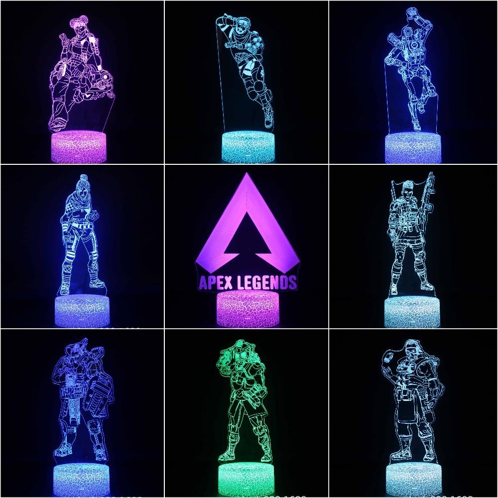 Kids LED Night Lamp APEX Legends Hero Figure Nightlight For Child Bedroom Wraith Pathfinder Octane Mirage Lifeline Night Light