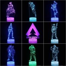 Kids LED Night Lamp APEX Legends Hero Figure Nightlight for Child Bedroom Wraith Pathfinder Octane Mirage Lifeline Light
