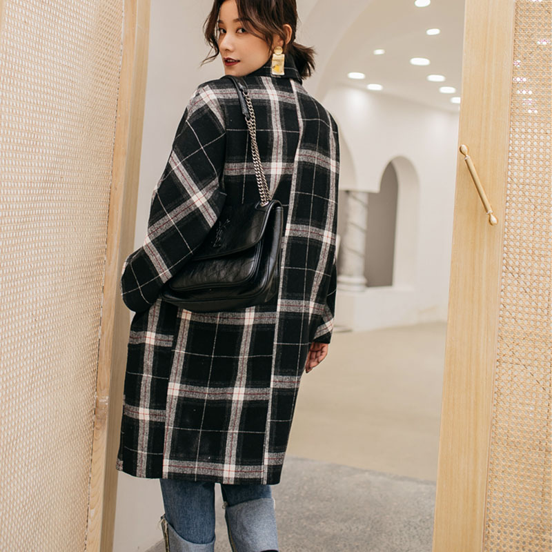 ebe36740b1e Cheerart Winter Long Wool Coat Women Plaid Coat Plus Size Tweed Big Lapel  Coat Vintage Knee Length Woolen Outerwear Coat-in Wool   Blends from Women s  ...