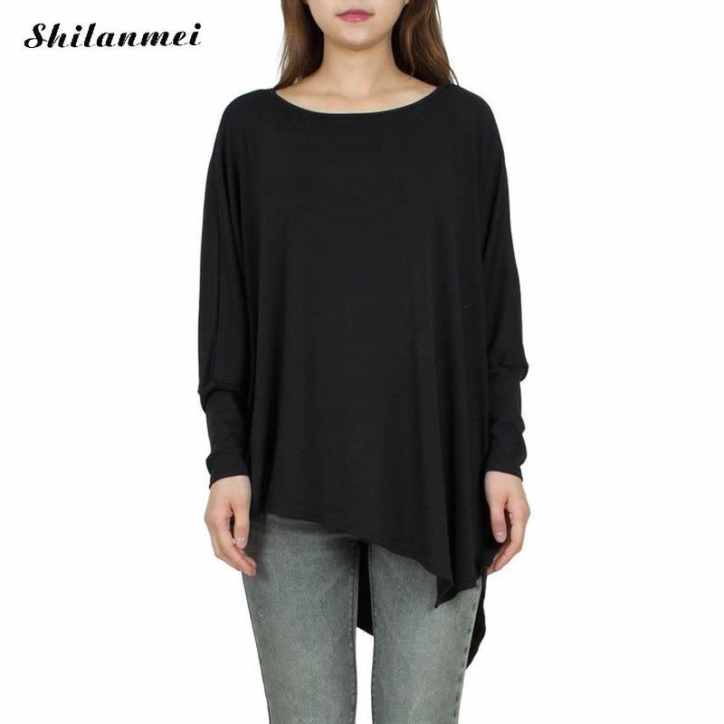 Tシャツ女性トップス非対称バットウィング長袖女性のtシャツ2017因果緩い平野染めソリッドtシャツファムトップス