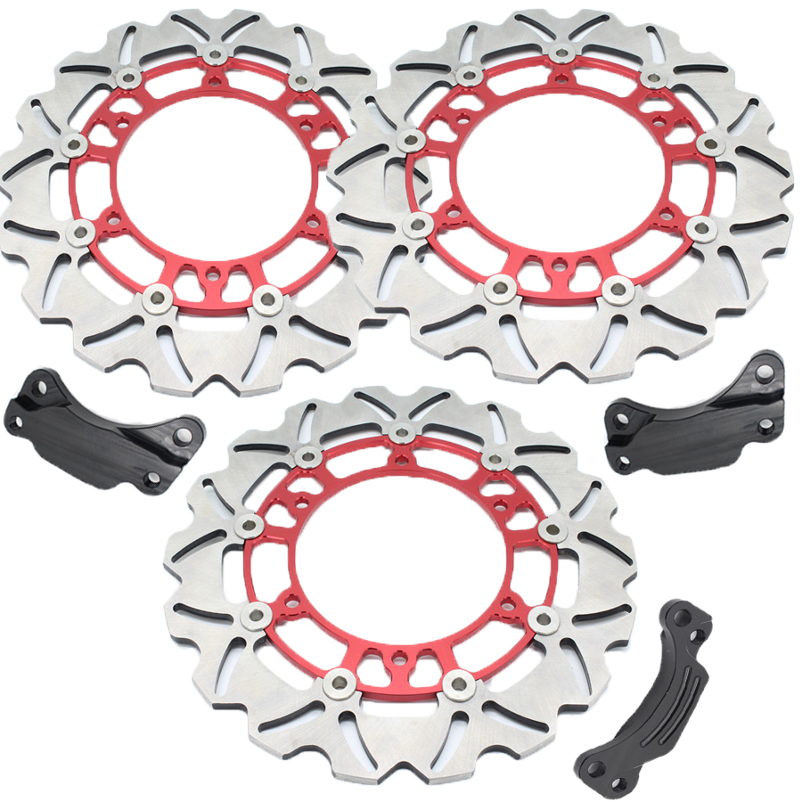1 Set Motorcycle Front & Rear Brake Disc Rotor Red For Y A M A H A TMAX500 TMAX 500 2008-2013 09 10 11 12 1 pcs motorcycle rear brake disc rotor for tmax500 tmax 500 2008 2009 2010 2011 2012 2013 red free shipping