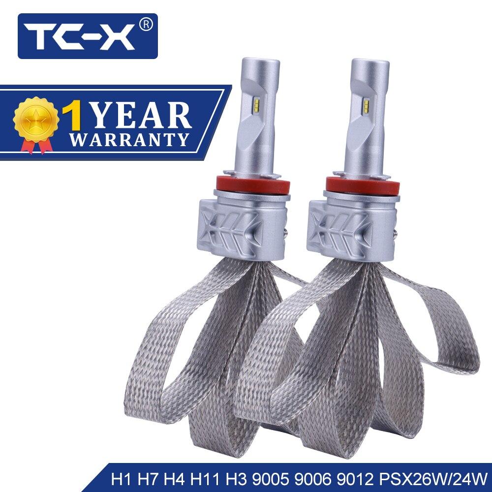 TC-X H4 H7 H11 LED Headlight Bulbs 9005 9006 Car Led Auto Headlamp PSX24W PSX24W P13W Luxeon ZES 6500K Headlights ptf Light 12v