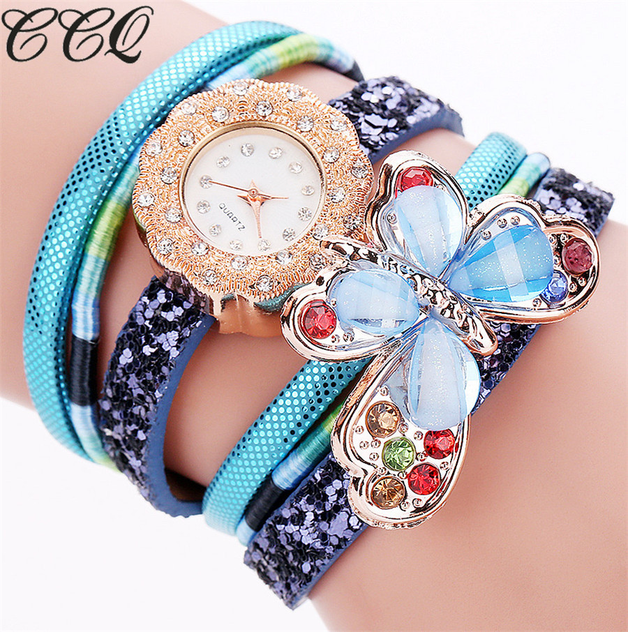 Ccq Brand New Fashion Fashion Bohemian Style Leather Bracelet Watch Luxury Cystal Cystal