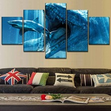Movie Jurassic World Home Decor Living Room Modern Picture 5 Pieces Paintings Canvas Wall Art
