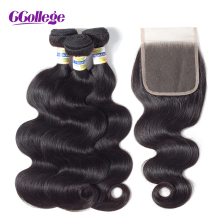 hot deal buy ccollege human hair body wave bundles with closure 3 bundles brazilian hair weave with lace closure 100% remy 8