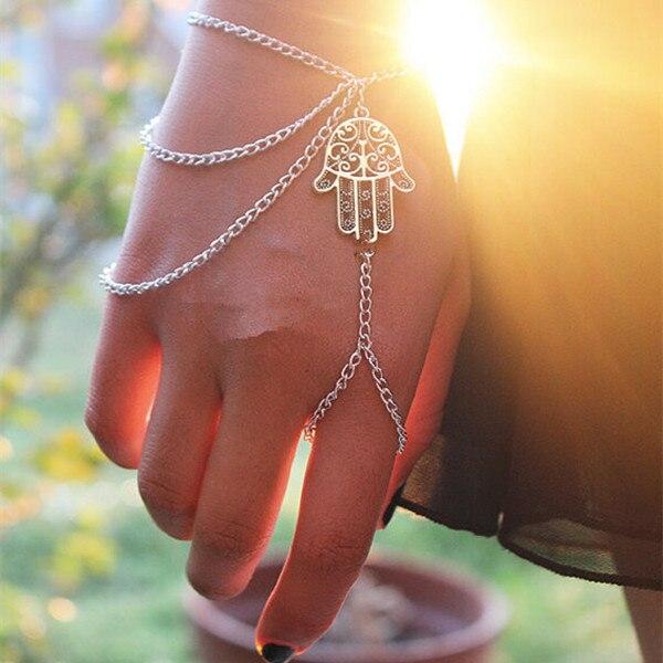 2015 New Fashion Silver Fatima Chain Bracelet Finger Silver Bracelets For Women T374