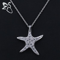 Fashion 925 Sterling Silver Sea Star Starfish CZ Crystal Collar Collier Femme Choker Necklace Pendant Women
