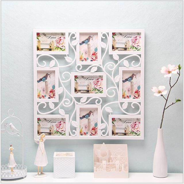 White Square Plastic Flower Wall Photo Frame Collage Hanging Family ...